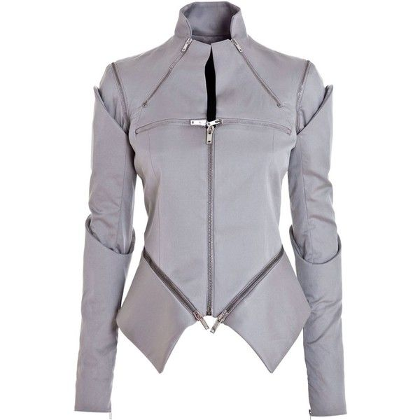 GARETH PUGH PG9700-STH LIGHT GREY COTTON/SILK/SPANDEX KM81C02 (2.760 BRL) ❤ liked on Polyvore featuring outerwear, jackets, tops, coats, coats & jackets, women and gareth pugh