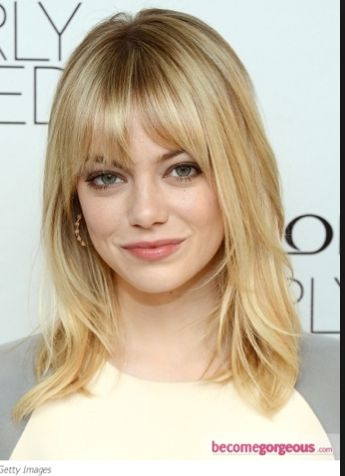 Bangs with shoulder lengths