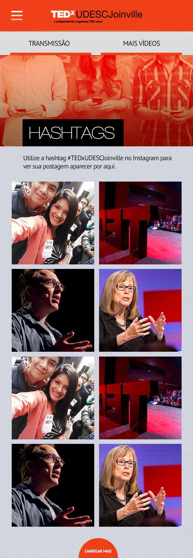 HASHTAGS: Pensamos na interação entre o aplicativo e o público do evento, por meio de hashtags as fotos do Instagram ficavam presentes no aplicativo.