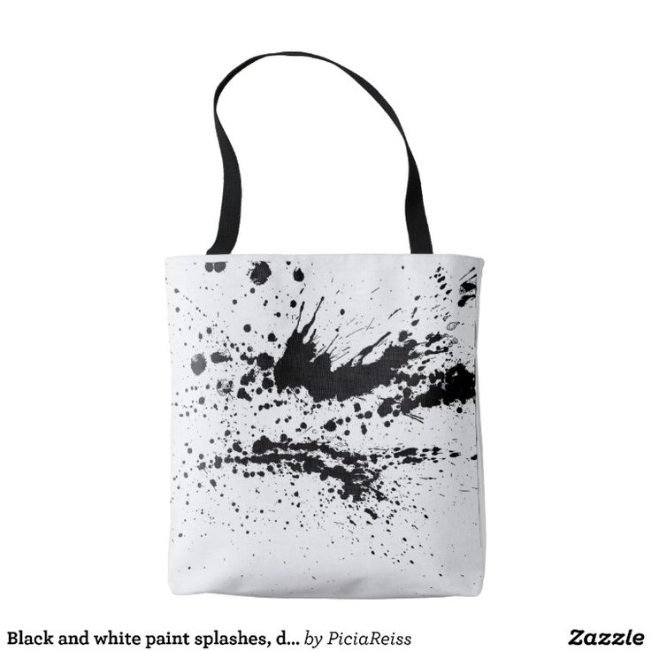 Black and white paint splashes, drops pattern tote bag