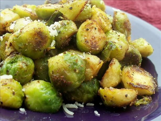 """Brussel Sprouts in Garlic Butter with parmesan cheese. These were delicious! Another pinner said """"Even my hubby liked them and he is not a fan of brussel sprouts"""""""