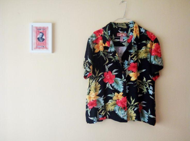 Camisa Negra Hawaiana Caribbean Joe Vintage I Estampado de Flores Tropicales I Blusa Grande Mujer Tropical Hipster I Década 1990 de TropicalaffaireES en Etsy