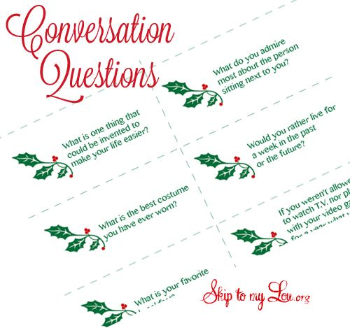 Here are free printable conversation questions to get everybody talking at your holiday dinners.