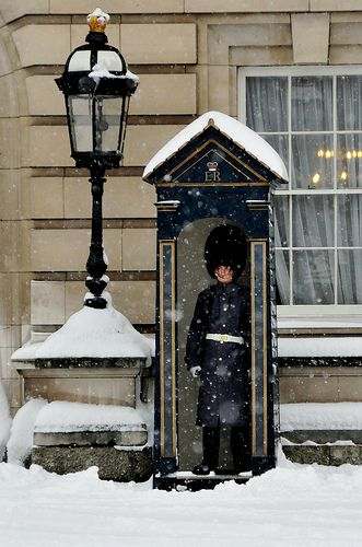 Bless his heart - I wouldn't want to be on guard duty in the snowy cold!