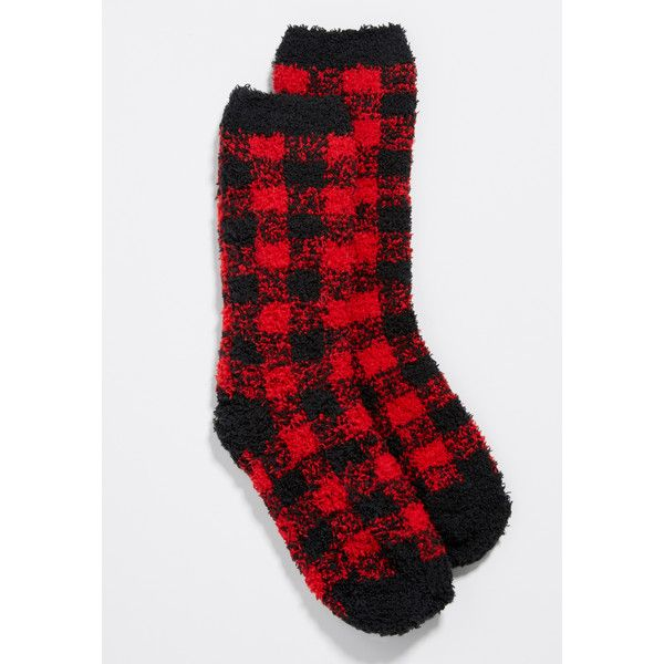 maurices Ultra Soft Fuzzy Crew Socks In Red And Black Buffalo Plaid,... ($11) ❤ liked on Polyvore featuring intimates, hosiery, socks, crew socks, crew cut socks, elastic socks, maurices and crew length socks