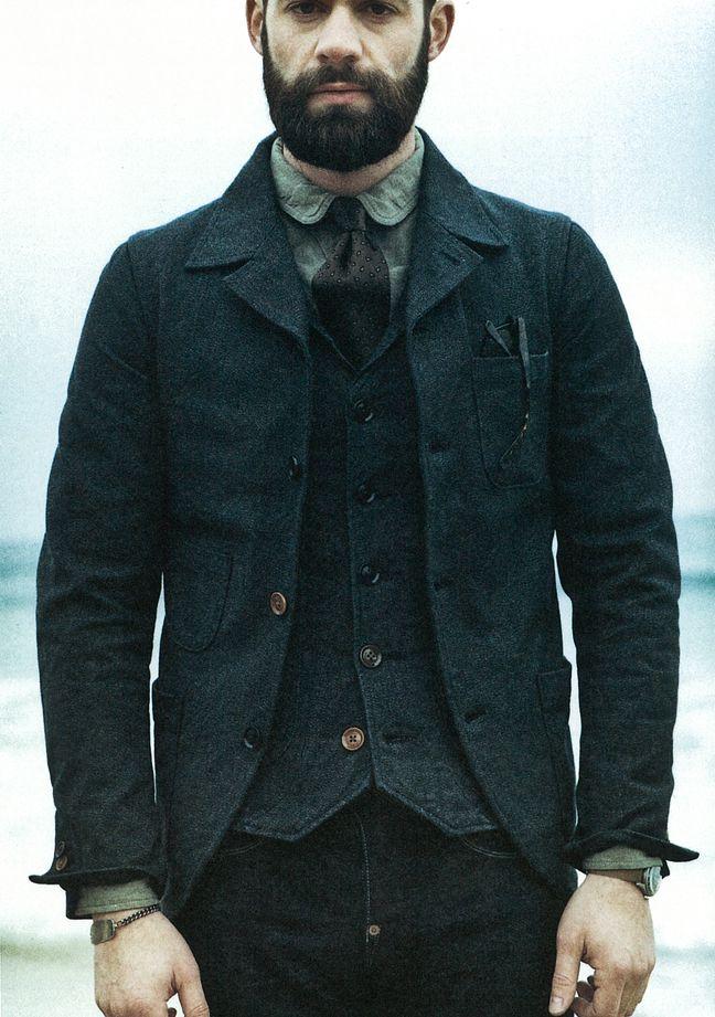 Orgueil 2013 - www.orgueil.com Sack jacket, gilet, shirt, necktie, jeans