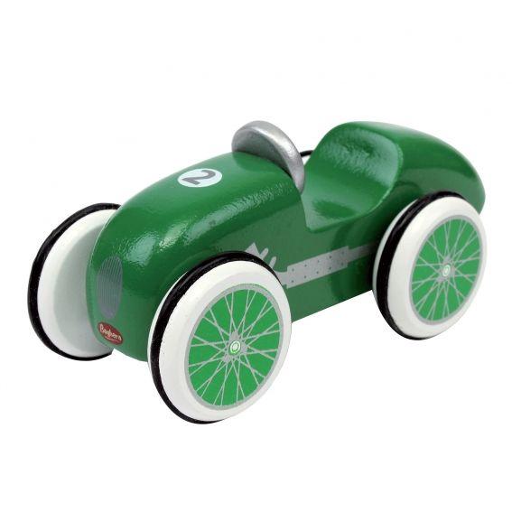 Voiture en bois Baghera Mini Bolide Vert.   Les petites voitures en bois de Baghera. Celle-ci reprend le look des voitures de courses d'antan. Avec son châssis et ses roues en bois, des pneus en caoutchouc noir, les mini bolides seront des compagnons de jeu parfaits pour vos enfants. Collectionnez-les toutes !
