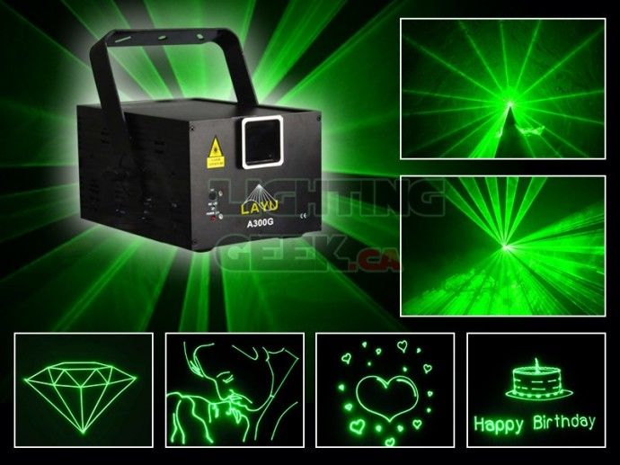 Compact green laser projector 300mW 25kpps A300G