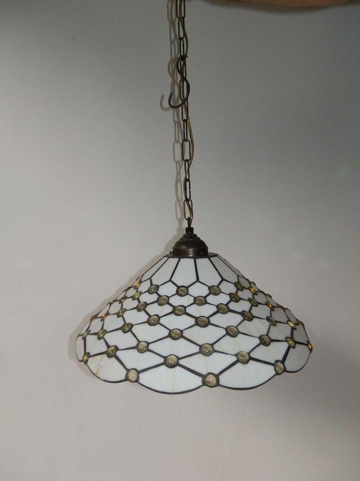 lampadario tiffany : Lampadario da soggiorno cucina in vetro Tiffany diam.cm 3O BELLISSIMO