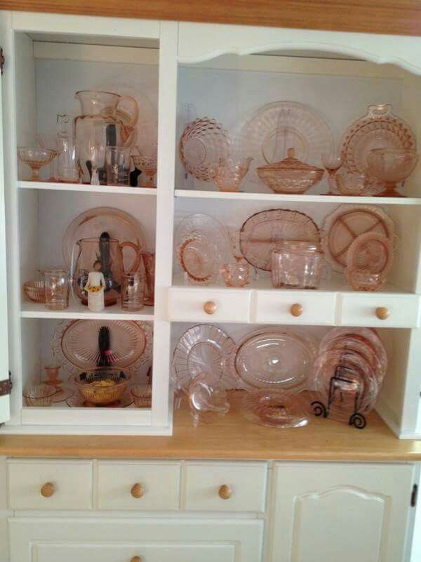 Pink Depression Glass Collection!!! Bebe'!!! Love the collection but I would just display the Depression Glass alone!!!