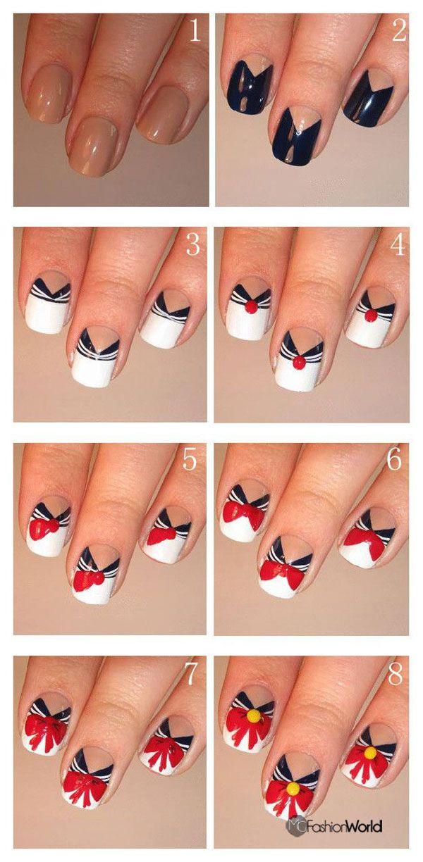 How to make chciky nail designs | FASHION WORLD... SAILOR MOON NAILS