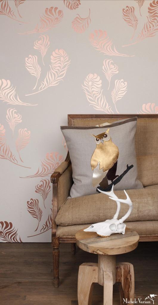 Plume Wallpaper Snow Copper - Michele Varian