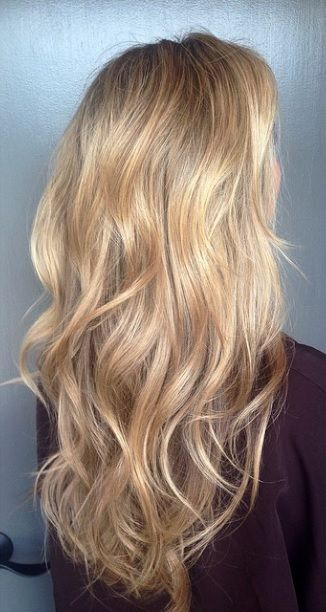blonde hair color with glimmering gold highlights                                                                                                                                                                                 More