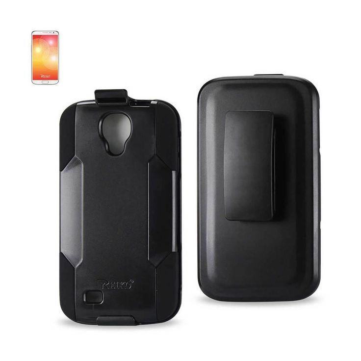 Reiko Silicone Case+Protector Cover Samsung Galaxy S 4/ I9500/ L720/ I337/ I545/ S4 M919/ R970 Black Holster With Clip