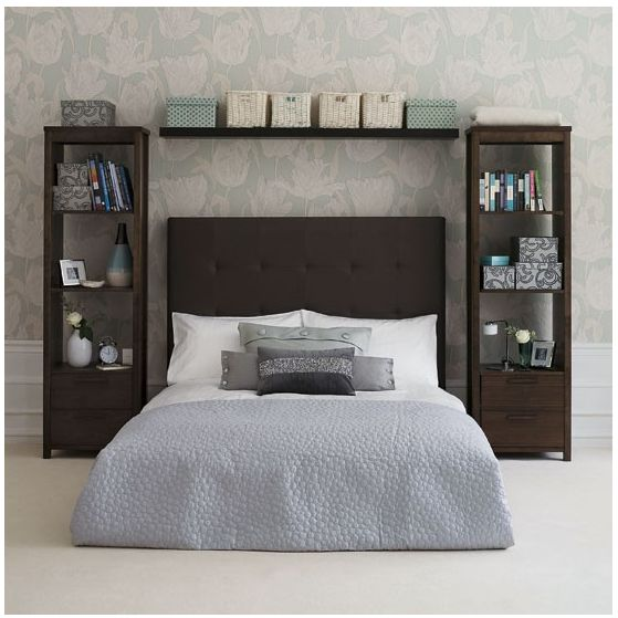 or even this! two book cases with a shelf over the bed and a headboard to match...why not?
