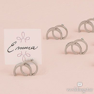 Double Rings With Crystal Place Card Holder (Set of 8)