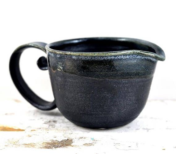 Handmade Ceramic Jug with Generous Handle  Pottery Black