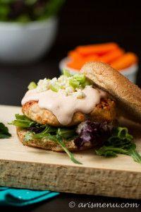 Buffalo Turkey Burgers with blue cheese, celery and carrots.