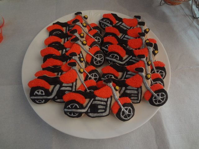 Cookies at a Motorcycle Party Pinned By:http://www.cookiecuttercompany.com/ #motorcycle #decorated #cookie