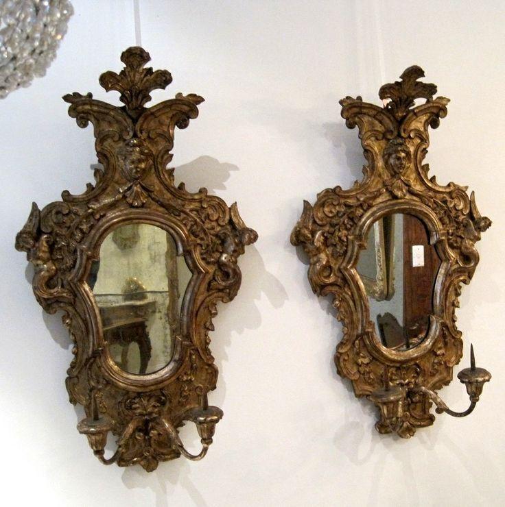 Pair of Italian Silver Gilt Girandole Mirrors
