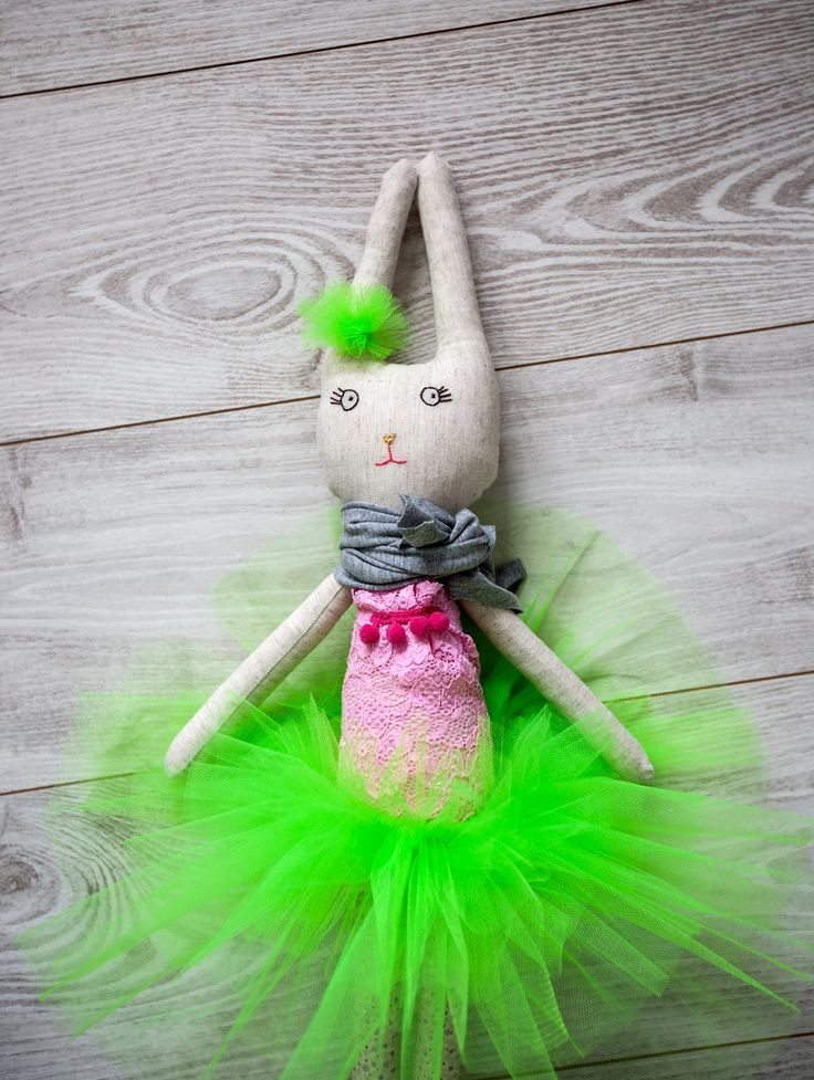 Petula the Ballerina Rabbit Doll in Lime Tutu, Handmade Stuffed Doll, One of a kind, Animal Toy by Kotakura on Etsy