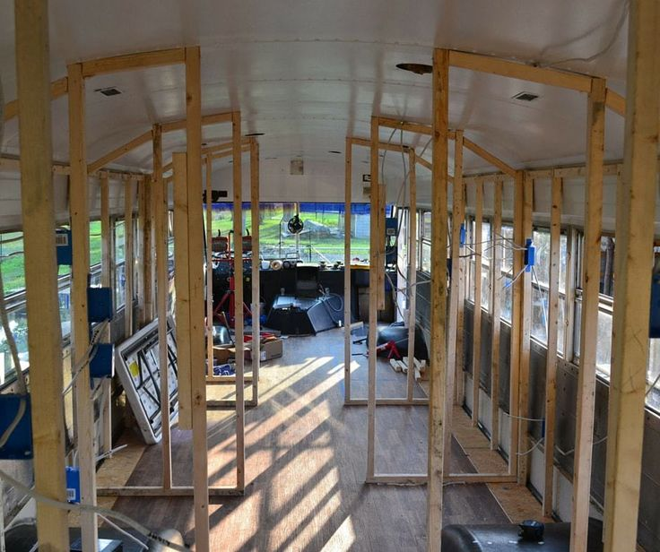 Once you have the floor plan, it's time to start studding out the walls. This is when you can see your school bus conversion starting to take shape. You can envision living or traveling in your tiny home. discoveringusbus.com