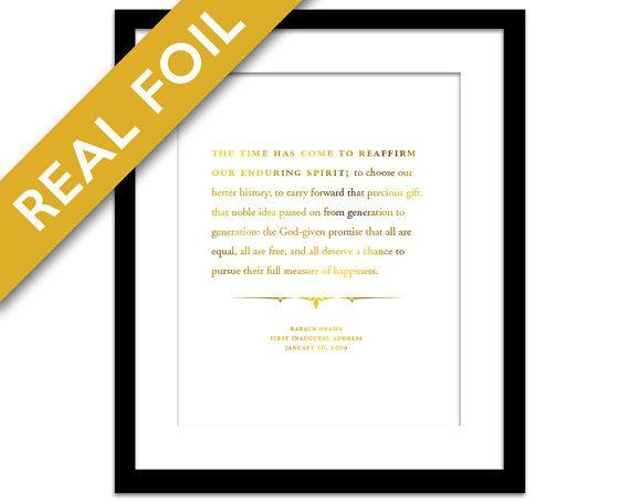 Barack Obama 2009 Inauguration Speech Gold Foil Art Print - Presidential Speech - American History Poster - US President - Political Art