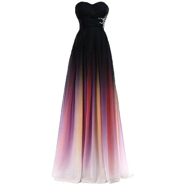 Strapless Gradient Ombre Chiffon Long Prom Dress Beads Evening Wedding... ❤ liked on Polyvore featuring dresses, gowns, holiday party dresses, long gown, strapless evening gown, strapless evening dresses and chiffon evening gown