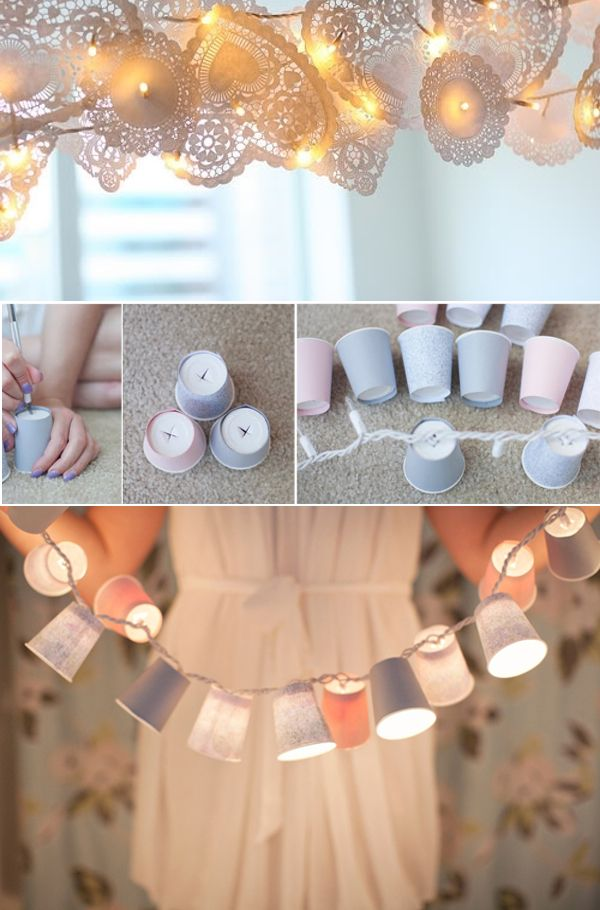 Paper Cup Lights! All you need are string light and cups! It can make a cheerful addition to any room.
