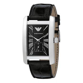 Montre Armani Homme - Quartz Analogique - Cadran Acier inoxydable Argent - Bracelet Cuir Noir - AR0143