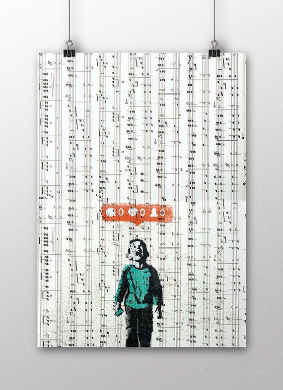 Banksy Wall Decor, Banksy Street Art, Print of Banksy Painting, Banksy Poster, Graffiti Art, Banksy Art Work, Modern Home Wall Decoration