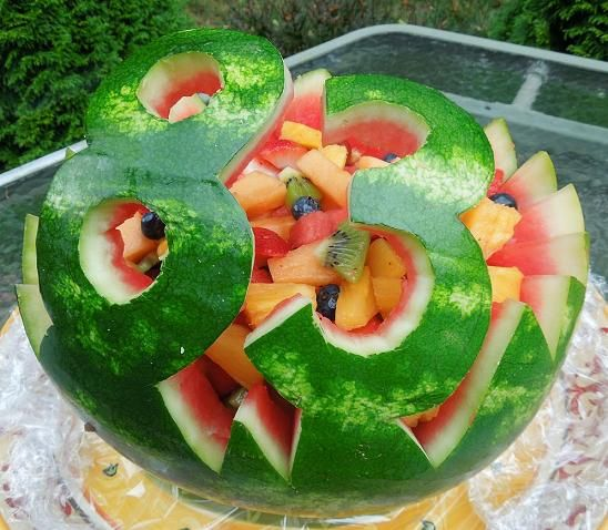 Carved Watermelon Fruit Salad for 83rd Birthday Party