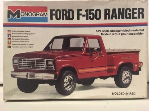 Vintage 1980 Monogram Red Ford F-150 Ranger Pickup Truck 1/24 Scale Model Kit