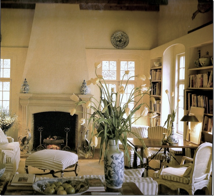 The Entire Room Is Amazing But The Slipcovered Footstool With The Long Ties  Around The Dark