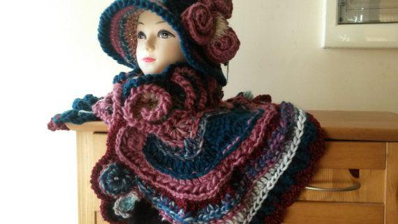Freeform Crochet Wearable Art Set  Hat & by AnnesMagicCrochet