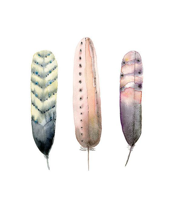 A beautiful wall art print for art lovers- Tribal Feather Art Feathers Watercolour Hippy by WinterOwls