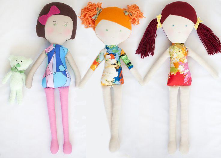 OLIVIA, ANISIA si MARA. Papusi artizanale din material textil (bumbac si polar). Inaltime aprox. 50 cm <3 handMade in Pravalia cu Papusi