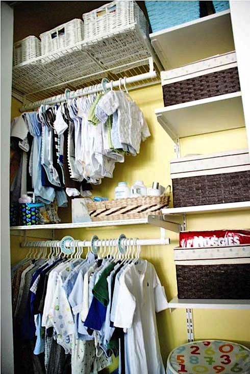 we already own moveable shelves like these, maybe we can re-install them inside the closet?