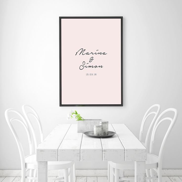 Personalised couple and anniversary print in blush pink. Print size in A1.