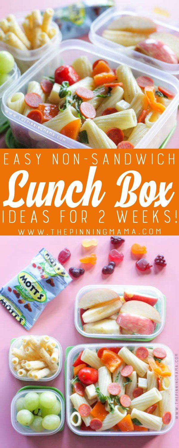 Kids Pasta Salad Lunch box idea - Just one of 2 weeks worth of non-sandwich school lunch ideas that are fun, healthy, and easy to make! Grab your lunch bag or bento box and get started!