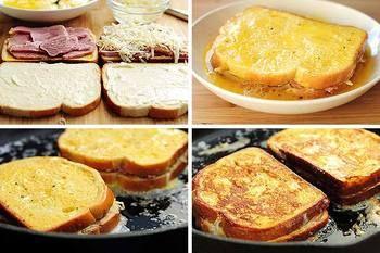 モンティクレスト:作り方はとっても簡単!  ●食パンにハムと溶けるチーズをはさみ、黒コショウとバジルなどをふる。 ●フレンチトーストを作る要領で、牛乳と卵を合わせた卵液に漬け込み、フライパンで表面をこんがりと焼く。