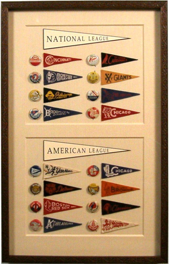 Bradley's custom framed-National and American League Baseball Penants & Pins Collection