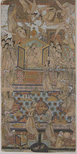 The Queen of Sheba Enthroned | Illustrated single work | late 19th–early 20th century| Iran | Culture: Islamic | Medium: Ink, opaque watercolor, gold, and silver on paper | Dimensions: H. 11 1/2 in. (29.2 cm) W. 5 3/4 in. (14.6 cm) | The Metropolitan Museum of Art