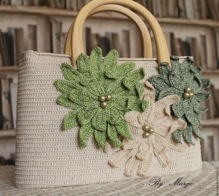 Купить Сумка летняя вязаная, ручная работа - бежевый, сумка женская, сумка вязаная