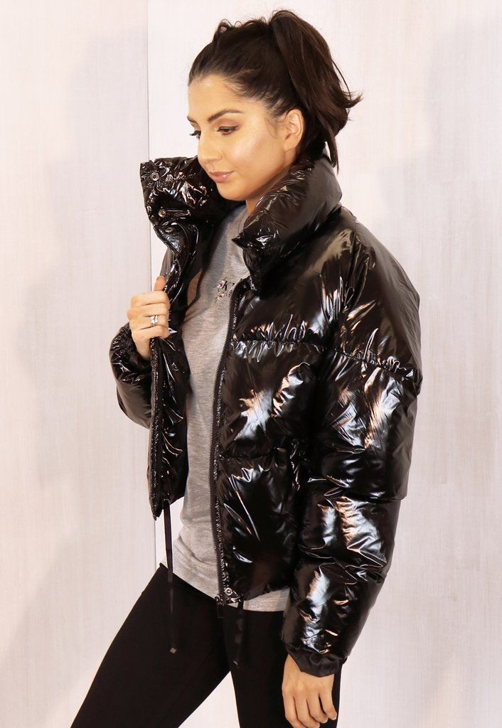 ff743b726f3ed Cropped Padded Shiny Vinyl Puffer Jacket with Funnel Neck in Black - One  Nation Clothing