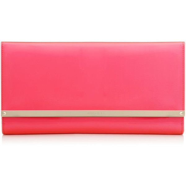 Jimmy Choo MAIA Geranium Neon Patent and Suede Accessory Clutch Bag (10 930 UAH) ❤ liked on Polyvore featuring bags, handbags, clutches, purses, geranium, suede handbags, red purse, red patent leather handbag, jimmy choo handbags and neon clutches