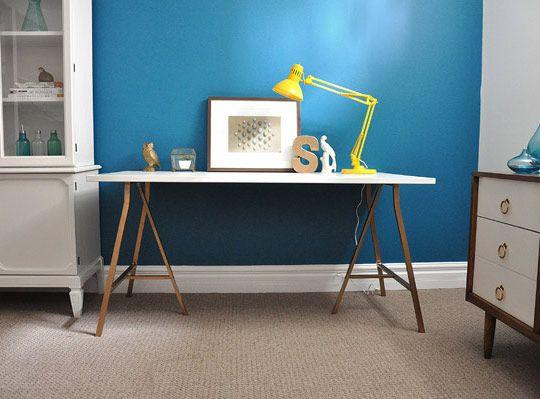 Good For DIY Linnmon/Lerberg Desk From IKEA   White Desk With Spray Painted  Gold Legs White And Gold Vika Trestle Desk   IKEA Hackers