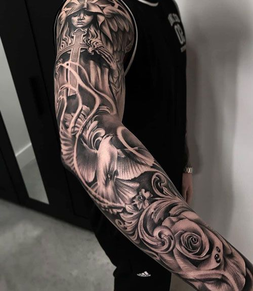 d8e61d55b664d Full Sleeve Tattoos - Roses and Angels - Best Full Arm Sleeve Tattoos For  Men: Cool Sleeve Tattoo Designs and Ideas #tattoos #tattoosforguys  #tattoosformen ...