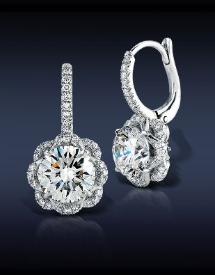 Jacob & Co. - Fine Jewelry - Flower Drop Earrings - Featuring: GIA Certified 1.51-1.51 Ct, G-H Color, VS2 Round Brilliant Cut Diamonds Highlighted With 0.32 Ct Pave' Set White Diamonds, Mounted in 18K White Gold