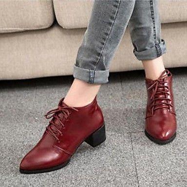 zuxiu / invierno 2014 zapatos con cordones de las mujeres del otoño británico puntiagudos roja 9 vino - EUR € 13.75